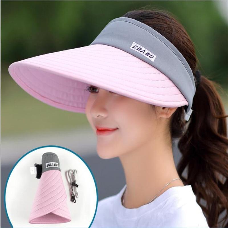 Women Summer Sun Hats Pearl Packable Sun Visor Hat With Big Heads Wide Brim Beach Hat UV Protection Female Cap Wholesale Splice
