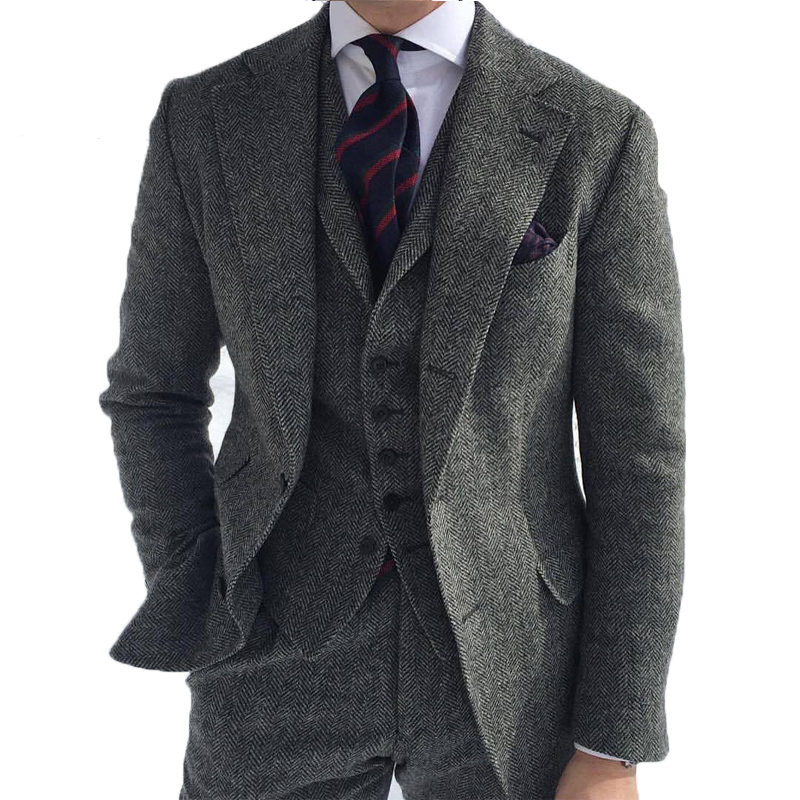 Grey Men's Winter Retro Men Groom Wedding Dress Classic Small Herringbone Pattern Tweed Three Pieces Suit(Jacket+Pants+Vest)