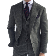 Grey Men's Winter retro Men groom wedding Dress Classic Small herringbone pattern Tweed