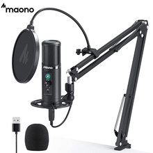 MAONO profesional micrófono de condensador USB cardioide de micrófono para ordenador táctil botón de silencio y micrófono Botón de ganancia para Tik Tok Podcast