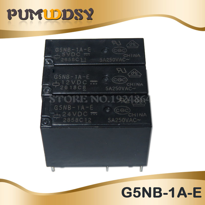 5PCS 5V 12V <font><b>24V</b></font> Power Relays G5NB-1A-E- 5VDC 12VDC 24VDC <font><b>5A</b></font> 250VAC <font><b>4PIN</b></font> image