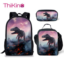 Thikin Dinosaur School Bags for Boys 3pcs Students Supplies Preschool Backpack Bookbag With Lunch Boxes Satchel
