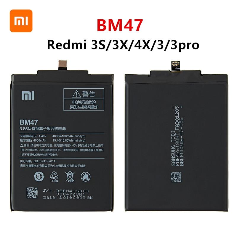 Xiao mi 100% Orginal BM47 4100mAh Battery For Xiaomi Redmi 3S 3X Redmi 4X Redmi 3 / 3pro BM47 Phone Replacement Batteries