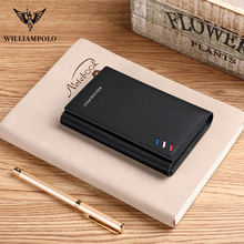 WILLIAMPOLO Men Genuine Leather RFID Card Package slim Credit Card Holder wallet Mini Card Case original design 2019 new fashion