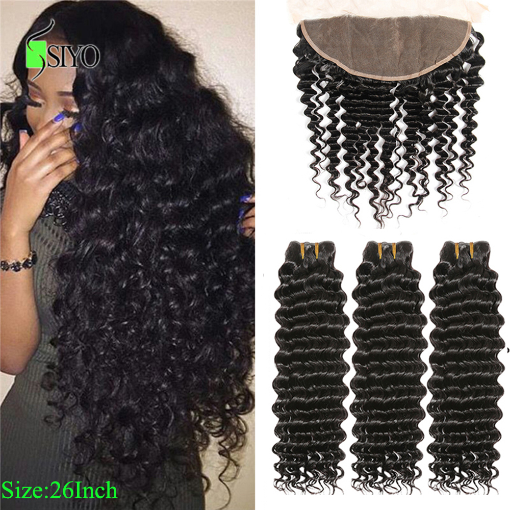 "Siyo Deep Wave 3 Bundles With Frontal 8-26"" Malaysian Hair With 13x4 Lace Frontal Remy Human Hair Bundles With Closure"