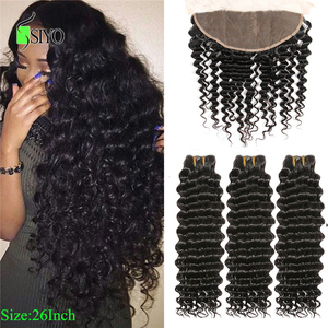 """Siyo Deep Wave 3 Bundles with Frontal 8-26"""" Malaysian Hair with 13x4 Lace Frontal Remy Human Hair Bundles with Closure(China)"""