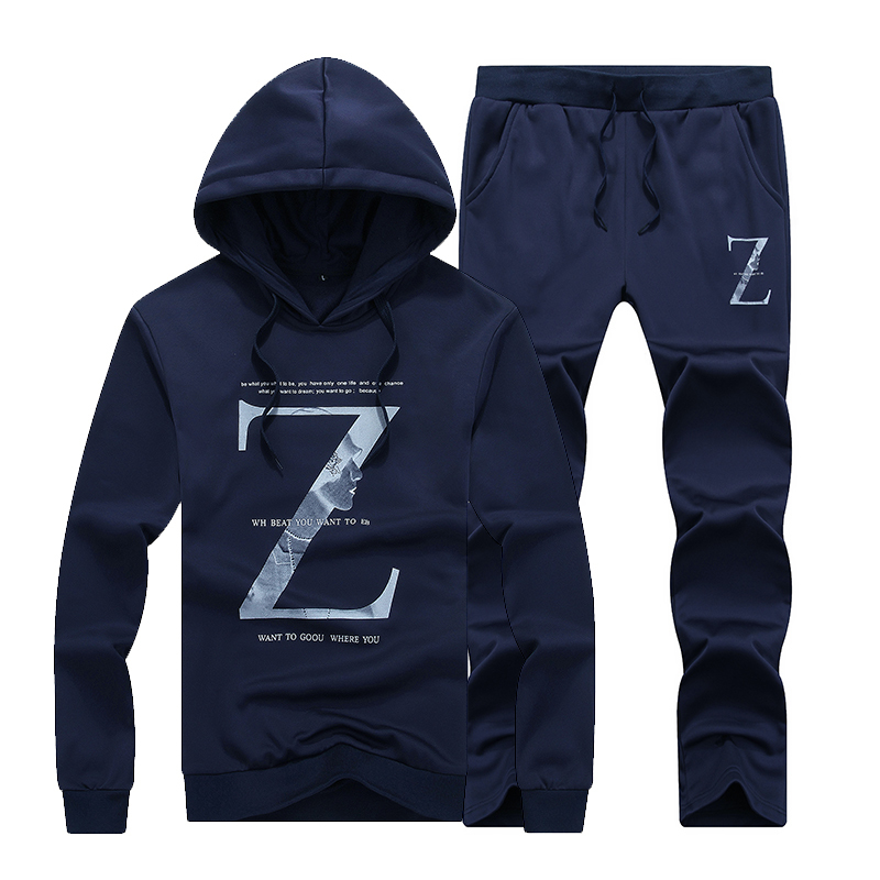 Autumn New Pullover Casual Suit, Stylish And Comfortable Large Size Men's Letter Print Hooded Suit Gray/blue/black