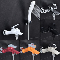 Wall mounted Bathtub and Shower Faucet black/white/orange/chrome bathtub faucet with hand shower bath & shower faucets