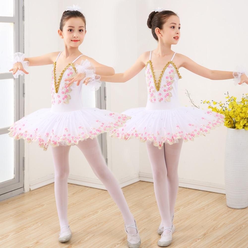 New Child Swan Lake Costume White Pink Ballet Dress For Children Professional Ballet Tutu Pancake Tutu Girls Dancewear