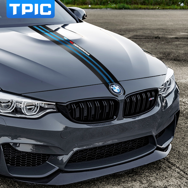 Image 2 - TPIC Car Styling Stickers Carbon Fiber Car Hood Sticker Decals M Performance Decor For BMW e90 e46 e39 e60 f30 f10 f15 e53 X5 x6-in Car Stickers from Automobiles & Motorcycles