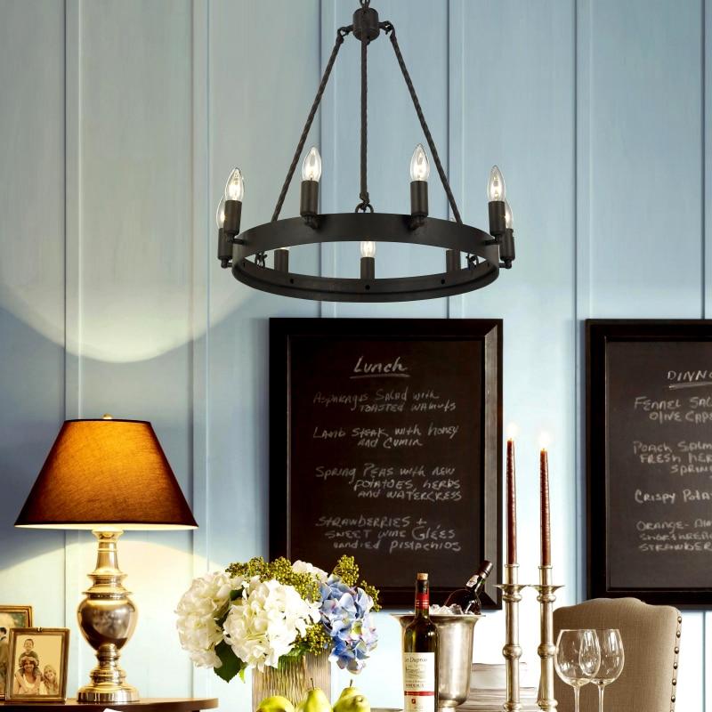 Wrought Iron Chandelier Lighting For Living Room Bedroom E14 LED Vintage Home Decor Nordic Loft Lustre Retro Black Chandeliers