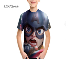 LBG New Captain America T-shirt 3D Print T-Shirt Fashion Childrens Casual Short Sleeve Outdoor Sports