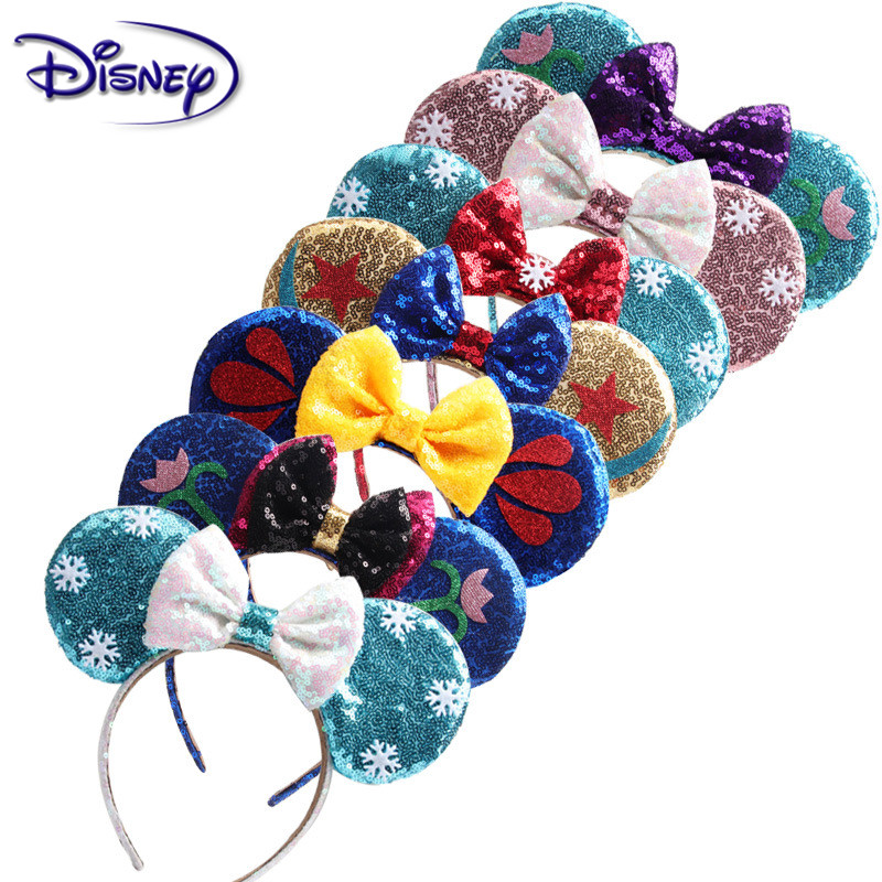 Disney Princess Headwear Lovely Girls Bows Minnie Mickey Headband Ears Hair-Accessories Kid Head-Accessories Headdress Party