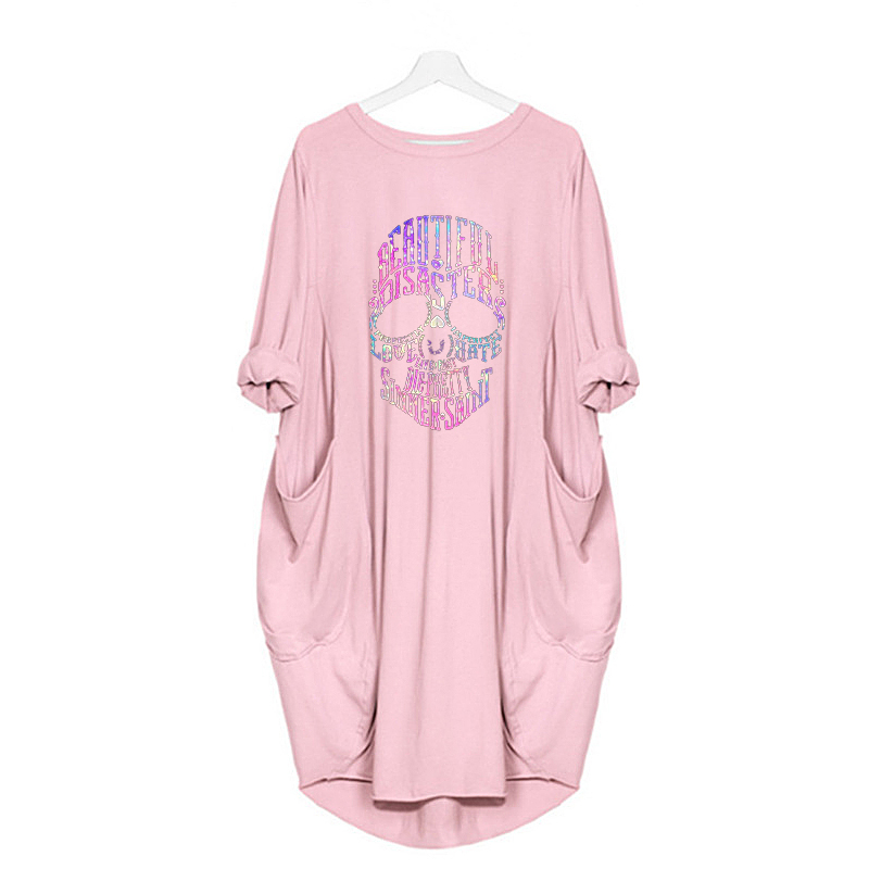 Women Loose Dresses Long Sleeve Dress Plus Size Harajuku Skull Print Casual Robes Femme Vintage o Neck Pocket Party Vestidos 106
