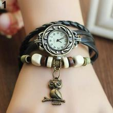 Multicolor High Quality Women Owl Charm Braided Genuine Leather Vintage Quartz Dress Watch