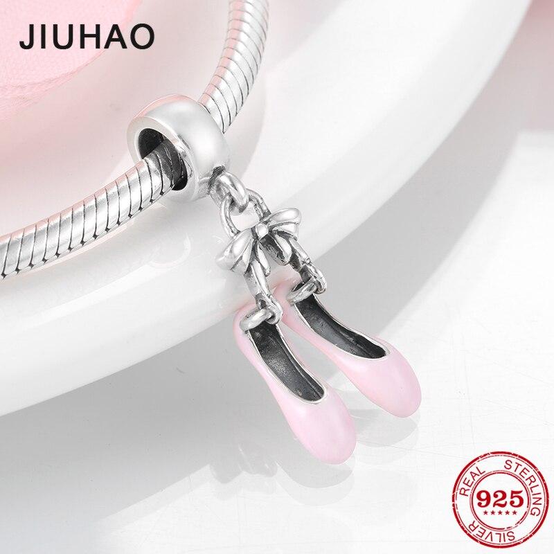 Love Ballet Dancer pink enamel Shoes Sterling Silver 925 pendants Fit Original Pandora Bracelet beads Fashion Jewelry 2019(China)