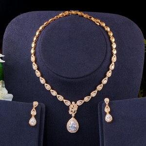 Image 5 - Cwwzircons Gorgeous Water Drop Zirconia 585 Goud Vrouwen Partij Bruiloft Ketting En Oorbellen Luxe Bruid Sieraden Set T405