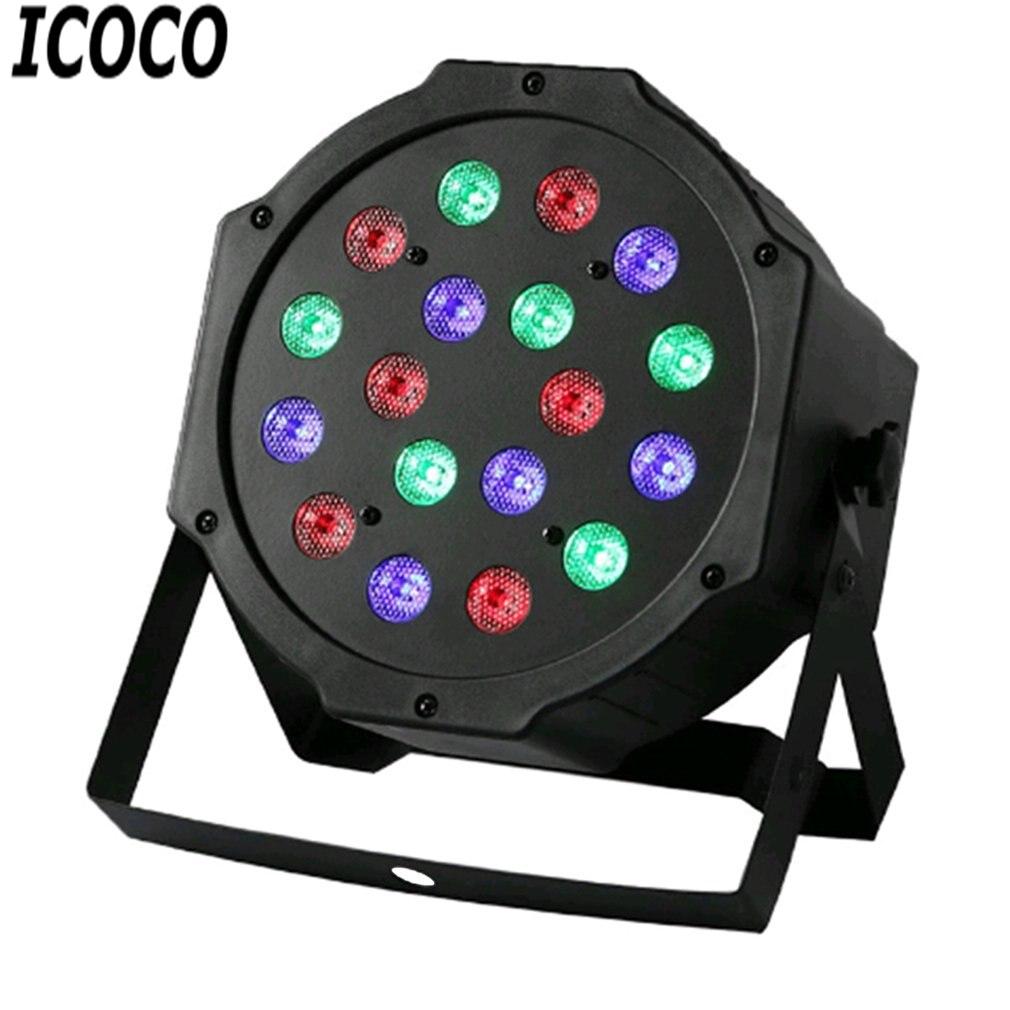 ICOCO Professional LED Stage Lights 18 LED RGB PAR DMX Stage Lighting Effect DMX512 Master-Slave Flat For DJ Disco Party KTV New