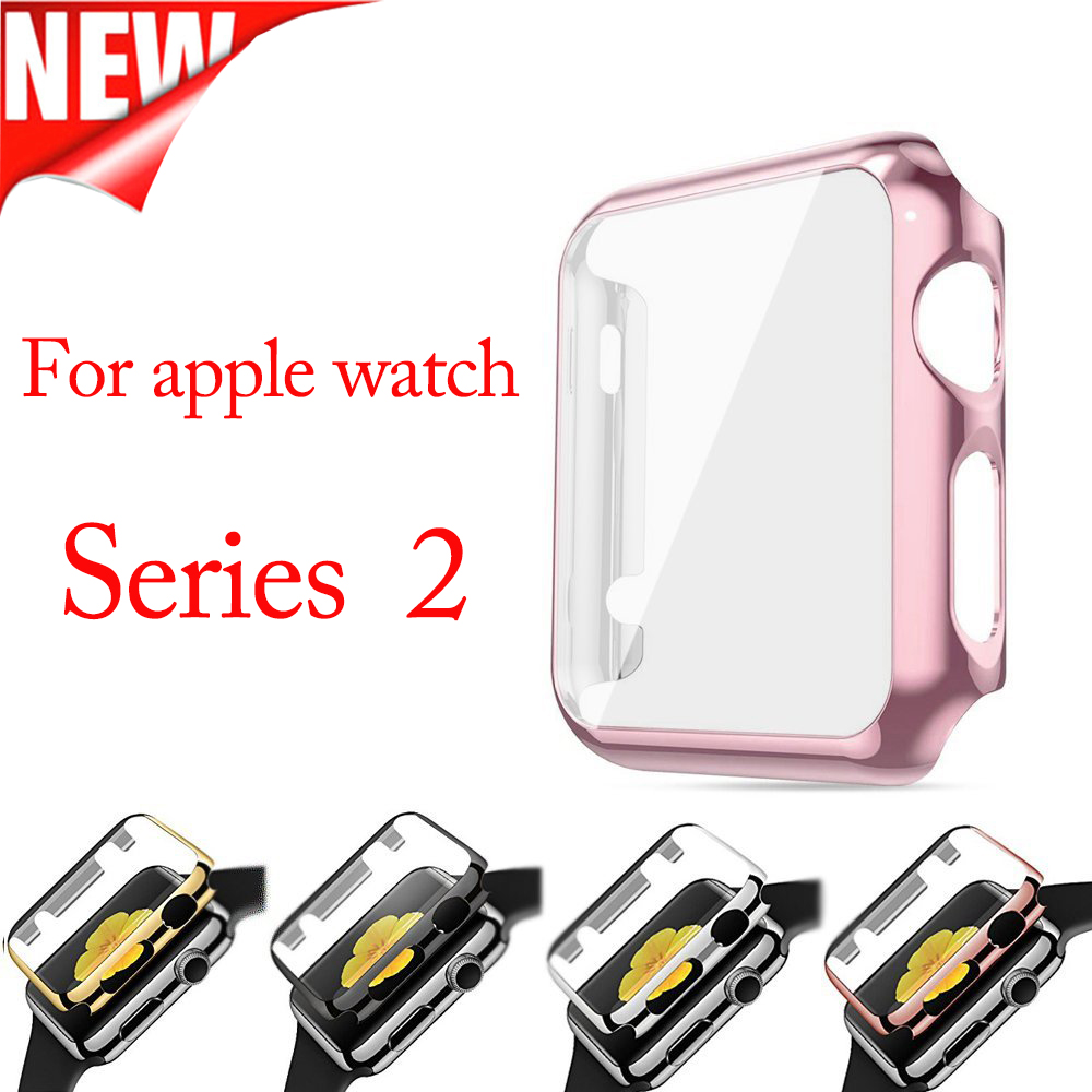 Apple watch 38mm 42mm için ekran koruyucu case ekran koruyucu ile pc case korumak apple watch serisi 2 için all-around kapak
