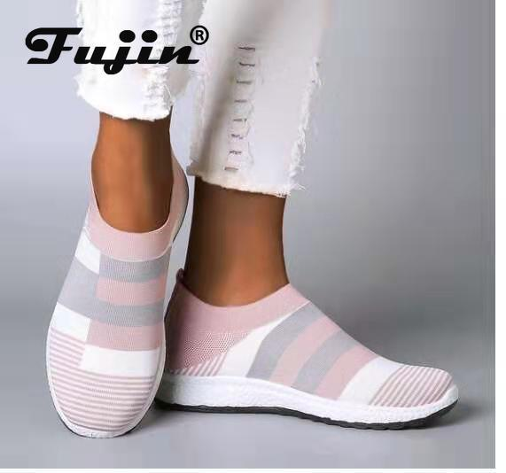 Fujin 2020 Flats Vrouwen Lente Mode Casual Schoenen Lente Schoenen Sneakers Vrouwen Platte Schoenen Slip Op Ademend Knit Stretch Flats