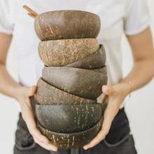 12-15cm tigela de coco natural proteção tigela de madeira de coco utensílios de mesa colher conjunto coco smoothie cozinha de coco ambiental