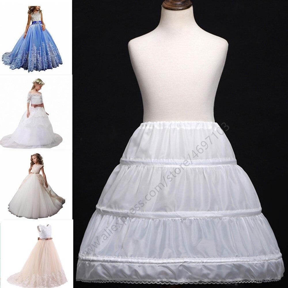 Adjustable A-line 3 Hoops Children Kid Dress Bridal Petticoat Crinoline Underskirt Wedding Accessories For Flower Girl Dress