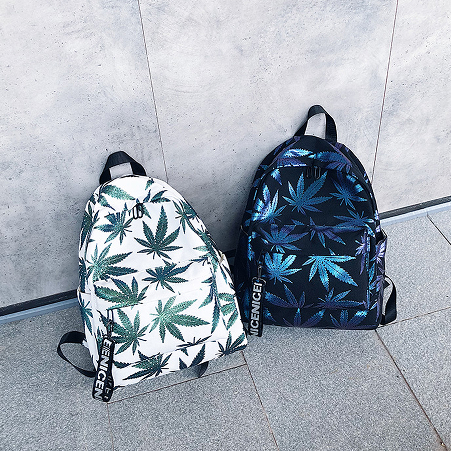 Fashion Woman Zipper Backpack Green Leaf Fashion Trend Female Backpack Travel Large Capacity Bag College Style School Bag Women