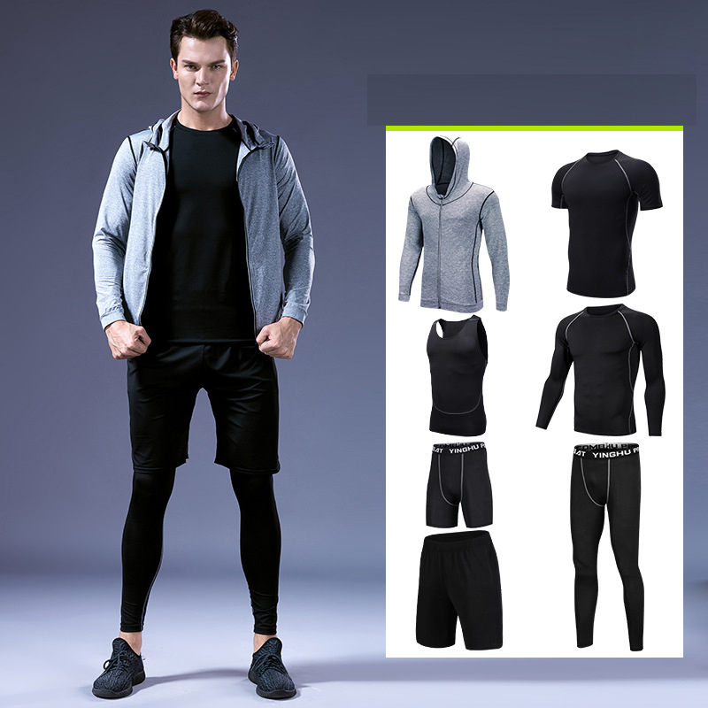 Workout Sports Men Clothing Set Jogging Sportswear Gym Run Outdoor Tights Suit