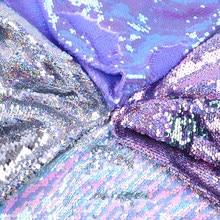 50*130cm laser holograma iridescence peixe escala lantejoulas tecido reversível diy costura roupas suprimentos têxtil bordado, 1yc5908