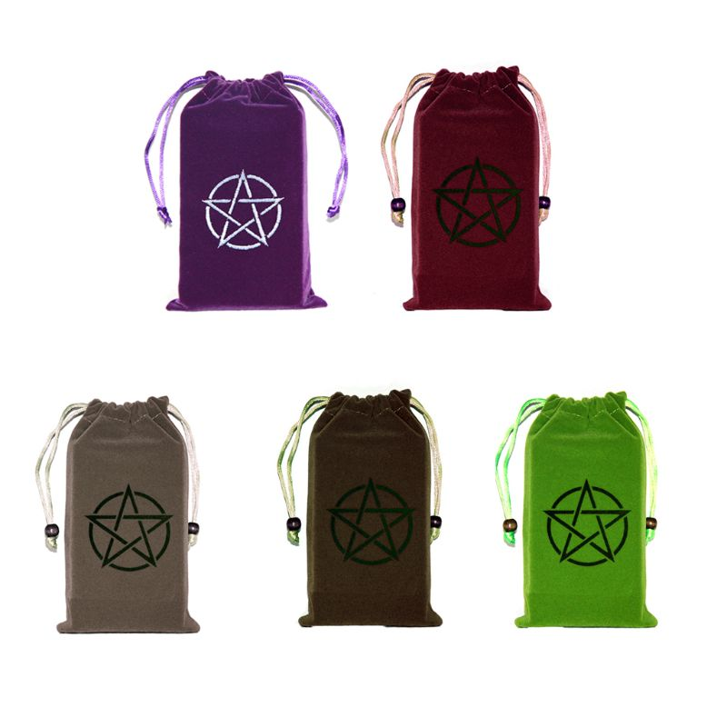 Velvet Pentagram Tarot Storage Bag Board Game Card Embroidery Drawstring Package PXPF