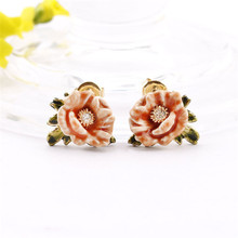 Fashion New Earrings Winter Garden Series Gem Enamel Glazed Peony Earrings 925 Silver Needle Female