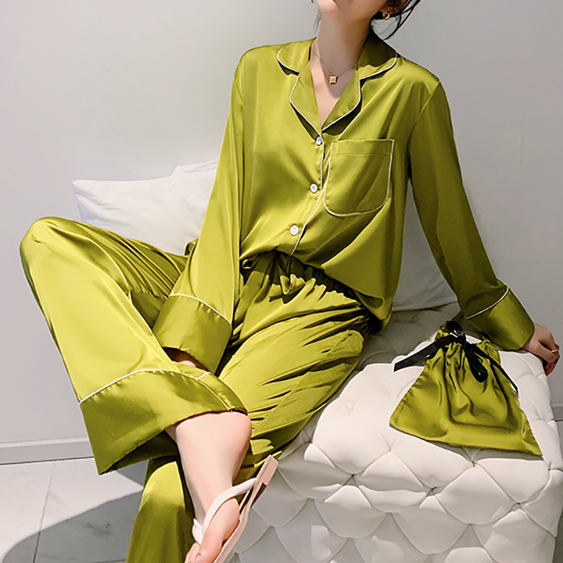 Women's Pajamas Suit Oversize Long Sleeve Home Clothes Silk Silk Cloth Bag Pajamas