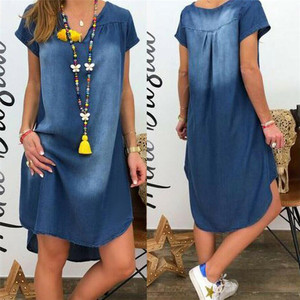 Summer Denim Dresses Women 2021 Distressed Blue V-Neck Short Sleeve Mini Dresses Plus Size Irregular Short Dresses Vestidos 3XL