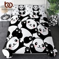 BeddingOutlet Panda Home Textile Duvet Cover With Pillow Case Cartoon Rainbow Bedding Set Animal Kids Teen Bed Linens Queen 3Pcs