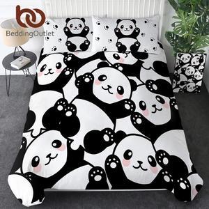 Image 1 - Beddingoutlet Panda Thuis Textiel Dekbedovertrek Met Kussensloop Cartoon Regenboog Beddengoed Set Animal Kids Tiener Beddengoed Queen 3 stuks