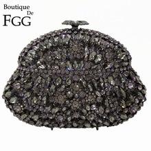Boutique De FGG naczynie do wina szary kryształ kobiety torby wieczorowe metalowa twarda obudowa wesele diamentowe sprzęgło Minaudiere torebka torebka