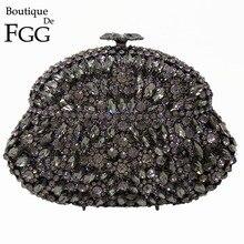 Butik De FGG karaf gri kristal kadınlar akşam çanta Metal sert çanta düğün parti elmas debriyaj Minaudiere çanta çanta