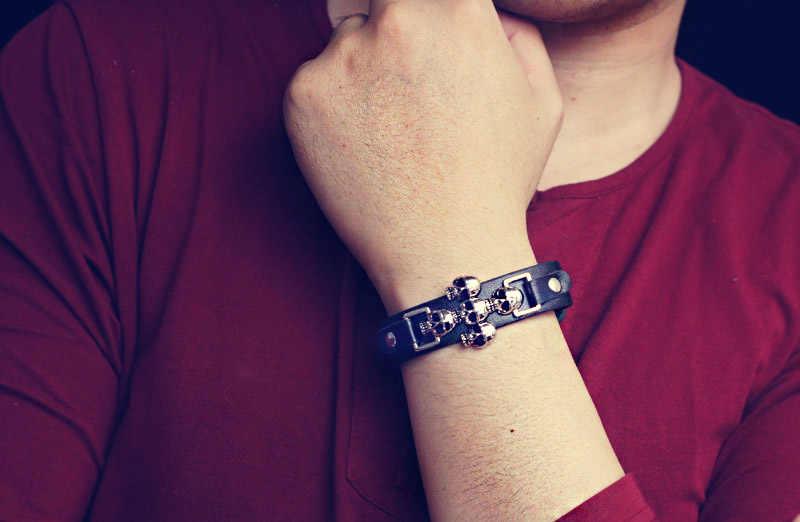 送料無料スケルトンスカルパンクゴシックロックレザーベルトバックル女性男性ブレスレット & バングル S301