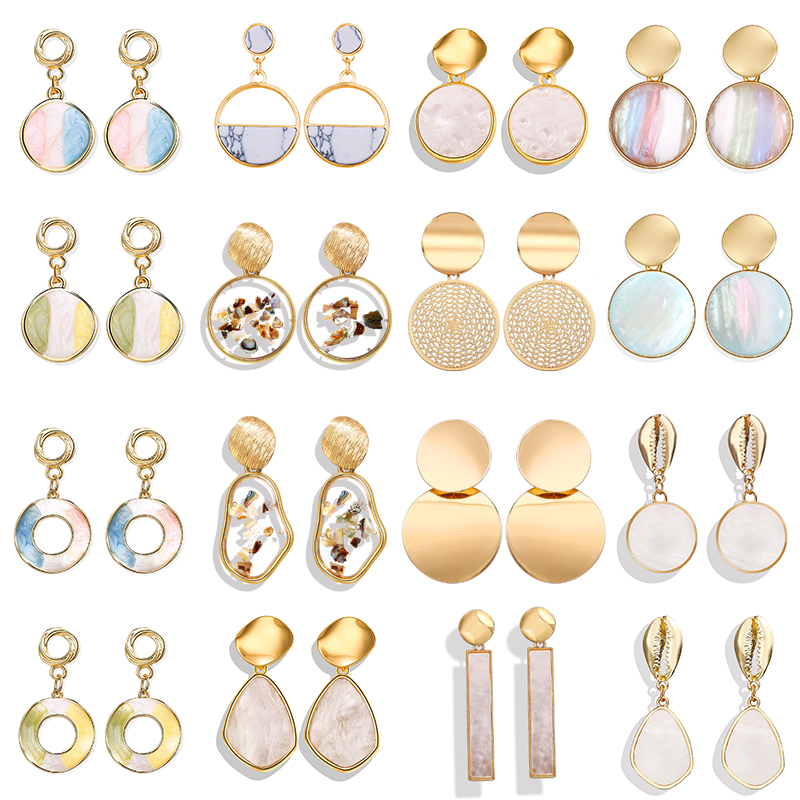 17KM Vintage Acrylic Geometric Shell Dangle Earrings For Women Round Small Drop Earring 2020 New Design Spring&Summer Jewelry