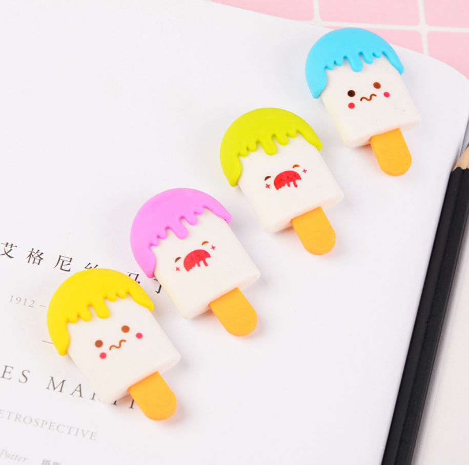 2pcs Cartoon Kawaii Eraser Ice Cream Pop Smile Face Erasers For Kids Rubber Stationery Cute School Office Supplies Gift Prizes