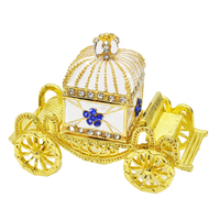 Hinged Trinket Box Hand painted Crown Carriage Trinket Jewelry Box Decorated Crystal Box Collectible Home Decor