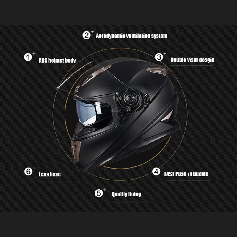 New GXT Moto Helmet Double Visor Motorcycle Full Face Helmets Motorbike M L XL Size Racing Helmet