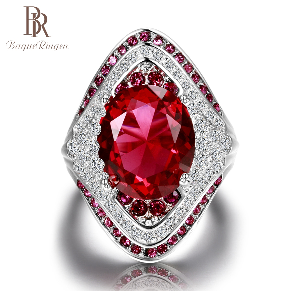 Bague Ringen Fashion 925 Sterling Silver Ruby Gemstone Rings For Women Vintage Crystal Zircon Party Wedding Fine Jewelry Ring