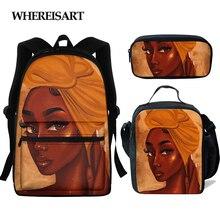 WHEREISART дети рюкзак школа для девочек сумки для детей Черная магия африканская девушка печать рюкзак Toddlle рюкзак Bolso афро