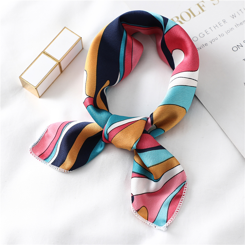 Silk Hair Scarf Women Neck Wraps Small Square Head Band Lady  Print Foulard Kerchief Bandana Vintage Skinny Bag Tie Scarves