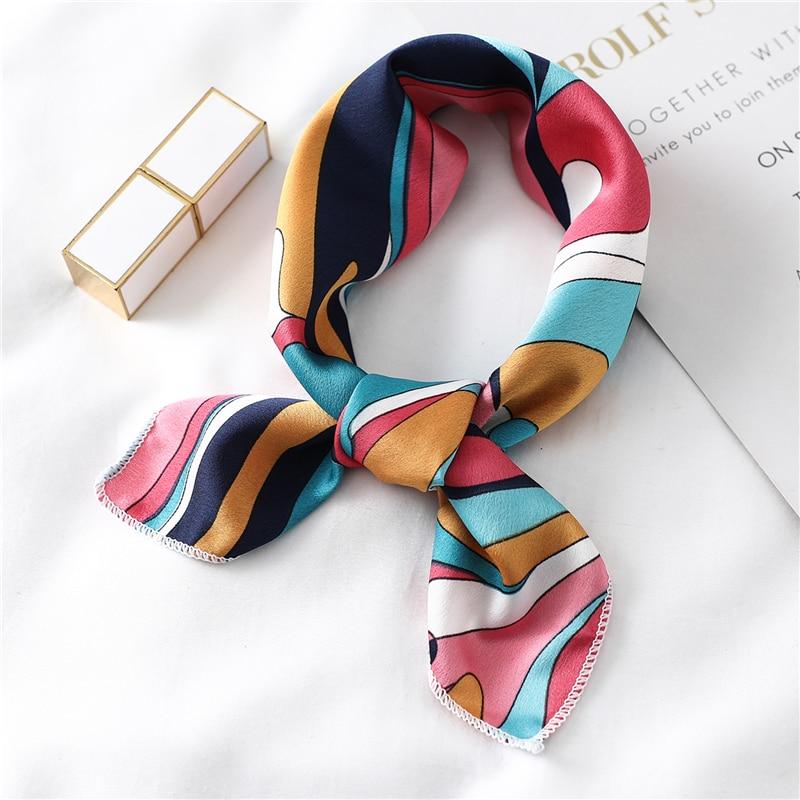 Silk Hair Scarf Women Neck Wraps Small Square Head Band Lady  Print Foulard Kerchief Bandana Vintage Skinny Bag Tie Scarves