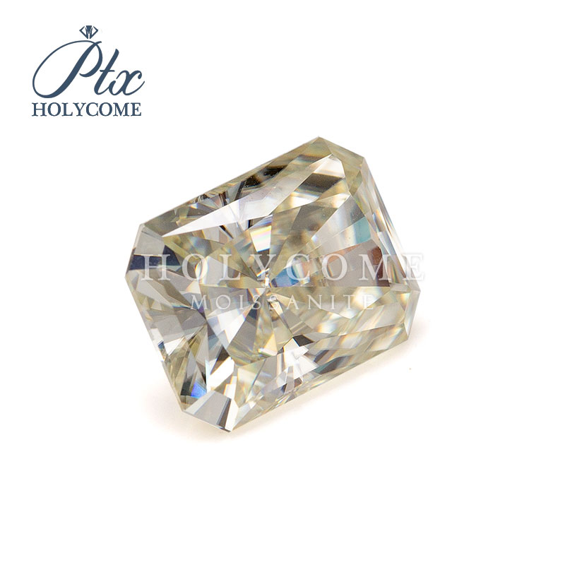 10X8MM 2020hot slae Crushed ice radiant cut VVS1 yellow Moissanite supplier factory gemstone For jewlery making free carving