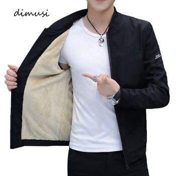 DIMUSI Men's Bomber Zipper Jacket Winter Male Fleece Warm Coats Casual Streetwear Hip Hop Slim Fit Pilot Jackets Mens Clothing