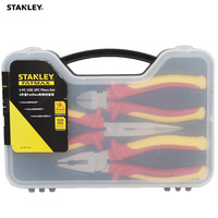 Stanley 3 pcs/set combination tool set stripper pliers cutter insulated handle VDE 1000V tools box professional electrician kit