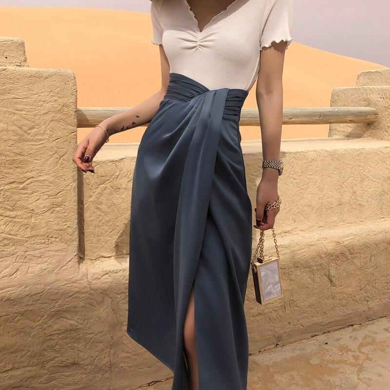 YAMDI Women Solid High Waist Skirt Female Woman Bohemian Vintage Runway Skirts Irregular Elegant Side Split Skirt Spring Summer